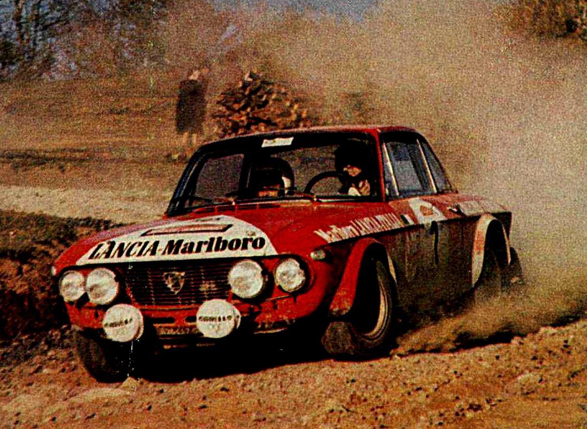 Amilcare Balestrieri in azione su Lancia Fulvia al Rally di Sanremo 1972