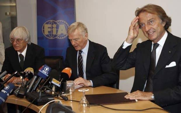 Ecclestone, Mosley, e Montezemolo. (AP Photo/Gareth Watkins, Pool)