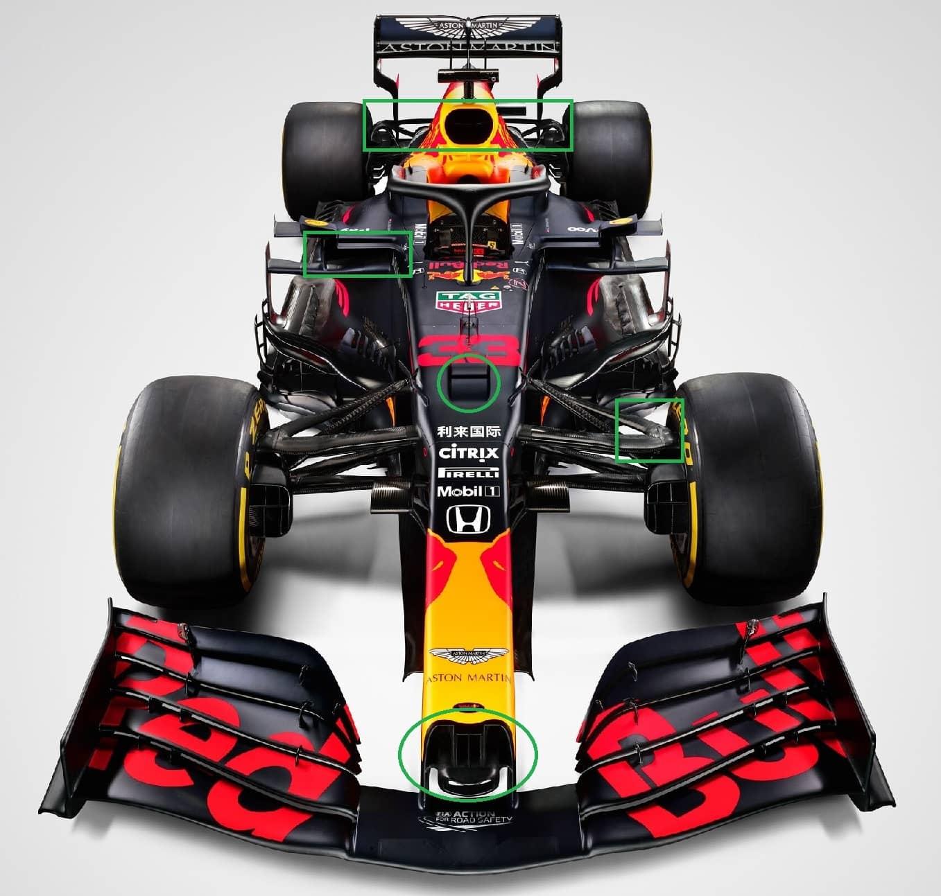 Bocche laterali, S-duct, muso e nuove sospensioni in risalto sulla RB16.