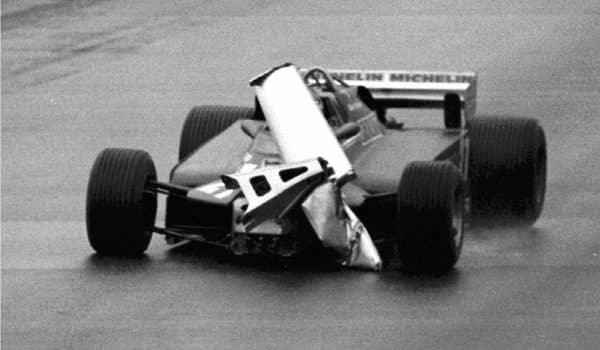 (CPT3-June 15)--Gilles Villeneuve found himself driving blind at the Canadian Grand Prix in Montreal in 1981 when his front spoiler started peeling off his Ferrari. Villeneuve ended the race in third place. (CP PHOTO) 1996 (str)