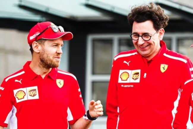 Sebastian Vettel e Mattia Binotto.