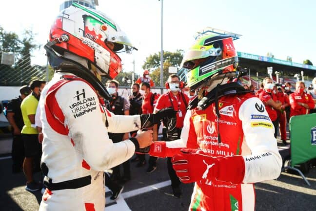 Luca Ghiotto e Mick Schumacher, Formula 2 GP d'Italia 2020. @B. Lennon // Getty