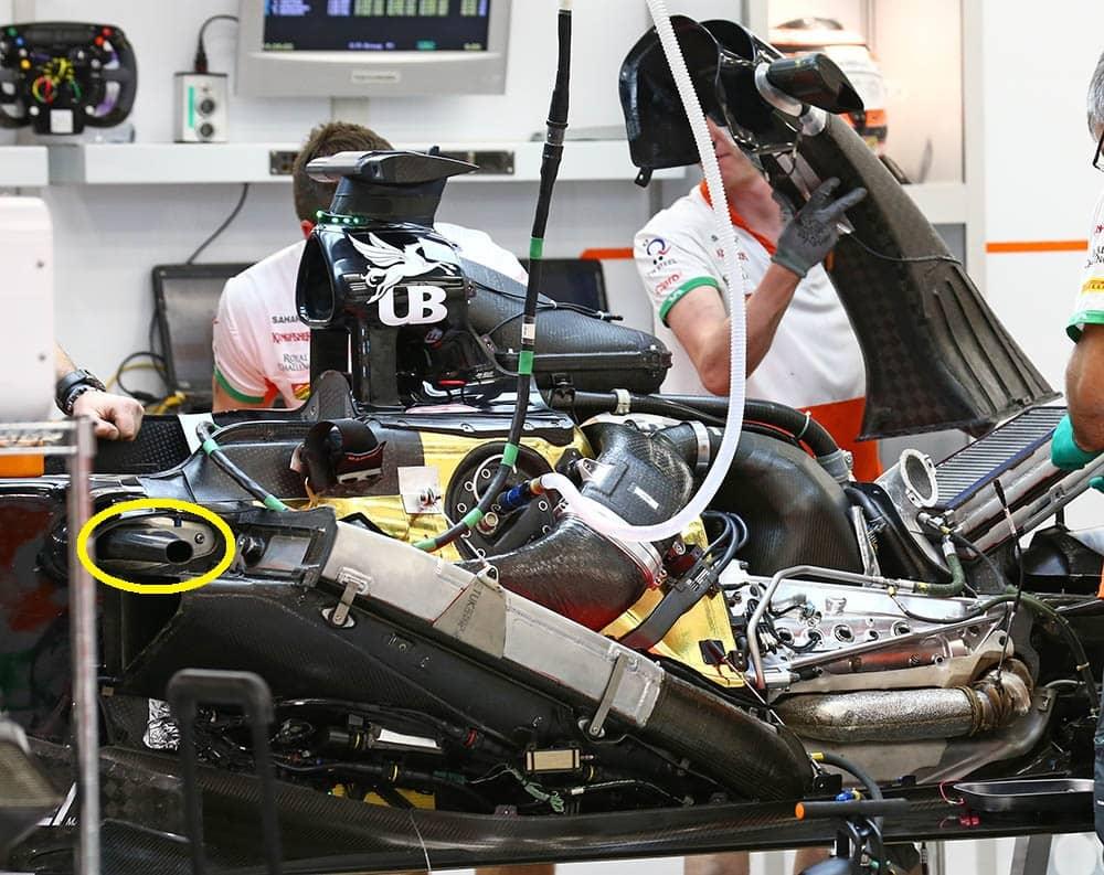 Cono anti intrusione montato sulla Force India nel 2014.