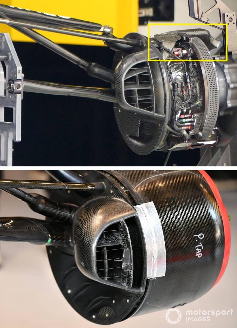 I cestelli dei freni con un design chiaramente ispirato a Mercedes nei convogliatori di flusso, riquadrati in giallo.