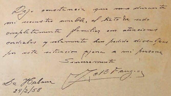 Lettera scritta da Juan Manuel Fangio durante la prigionia.
