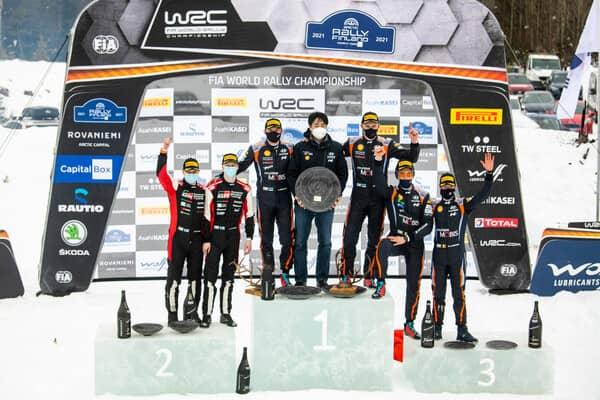 Il podio dell'Arctic Rally Finland 2020